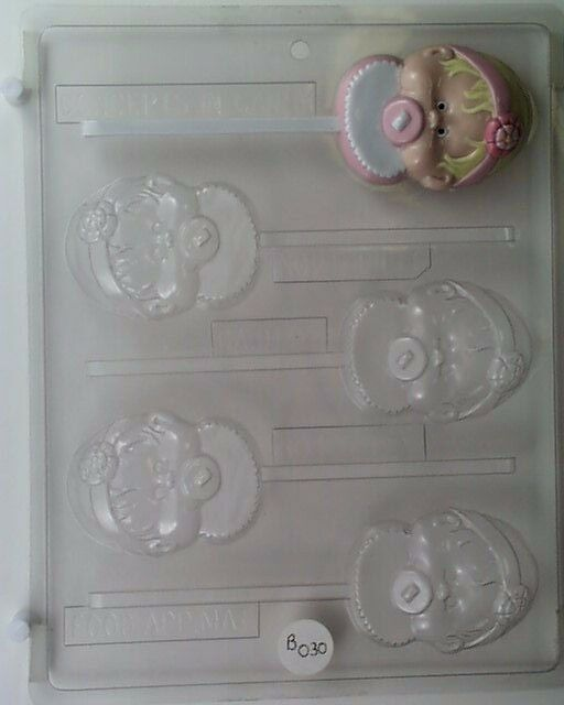 BABY BOY WITH BIB PACIFIER LOLLIPOP CLEAR PLASTIC CHOCOLATE CANDY MOLD B032