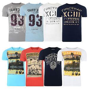 Firetrap Printed T Shirts New Men 39 S Slim Fit Crew Neck