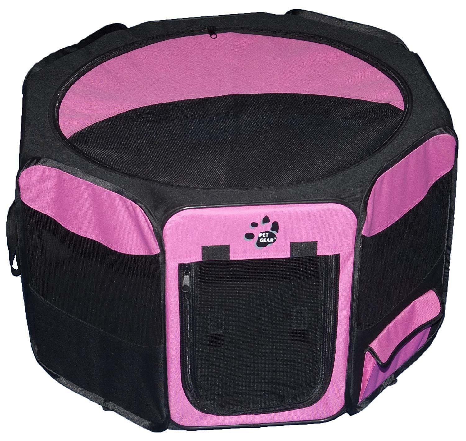 Pet Gear Soft-Sided Dog Puppy Cat Kitten Pet Play Pen Playpen w  Top Pink 21  H
