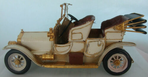 Tin Plate Model of a Large Vintage Cream Motorcar //Ornament //Gift