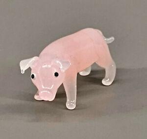 9912066-x Vetro Figura Maiale Rosa L4cm Soffiato Bocca Fatto a Mano