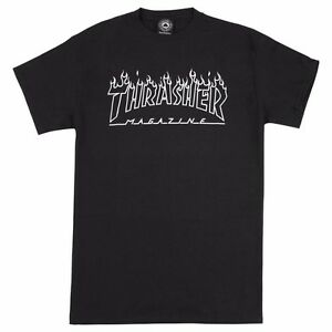 Thrasher-Magazine-FLAMES-OUTLINE-LOGO-Skateboard-Shirt-BLACK-LARGE
