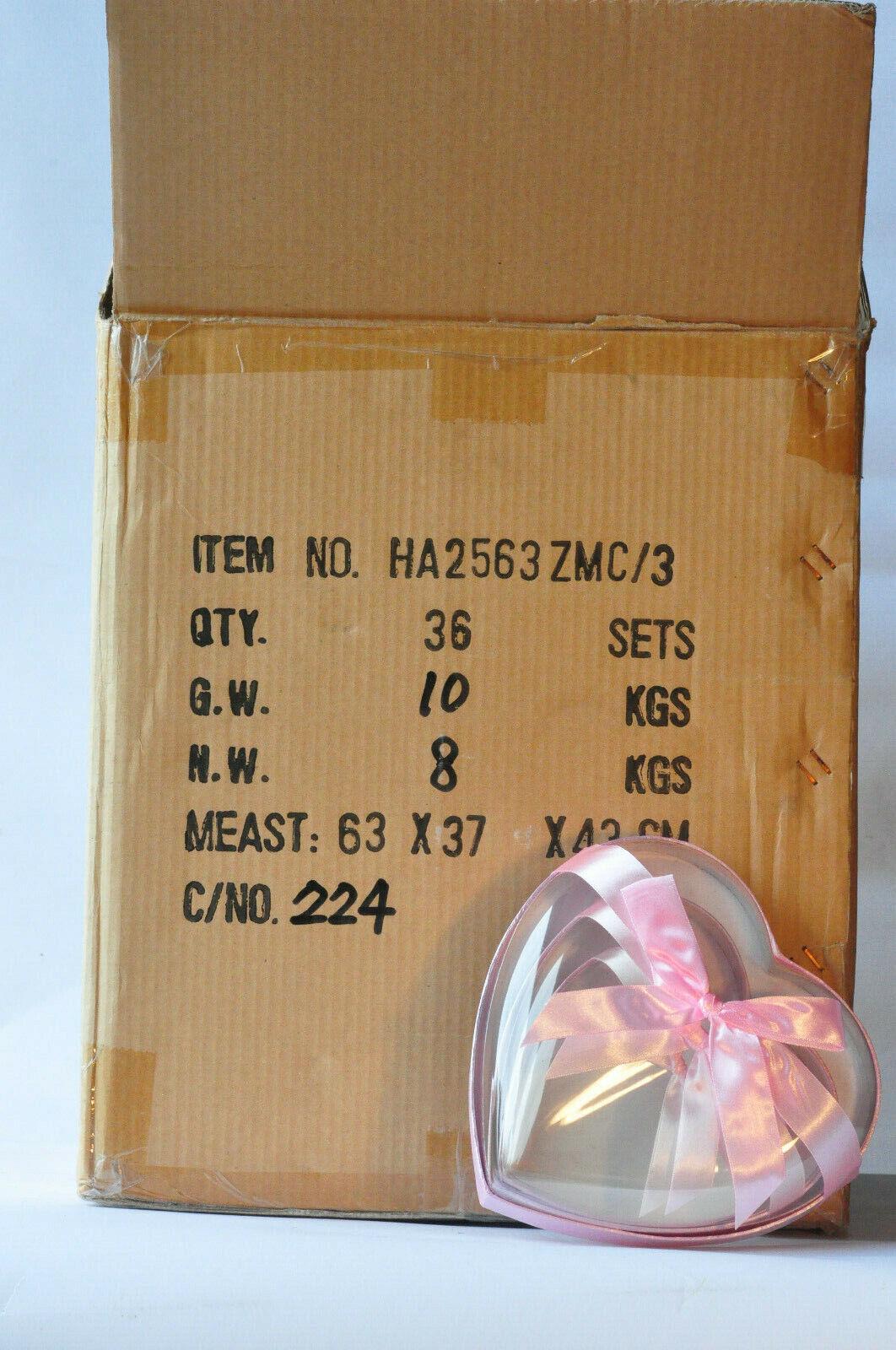 1 Karton Geschenkschachteln mit 36 Sets  Herz  3in1 mit Schleife