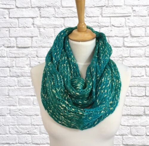 Jade//turquoise vert hiver Infinity Snood écharpe Cowl Wrap grosses mailles cadeaux