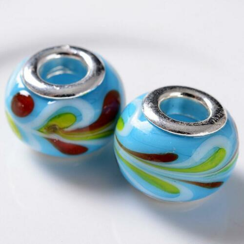 Beautiful Feather Lampwork Glass Big Hole DIY Beads Fit European Charm Bracelet