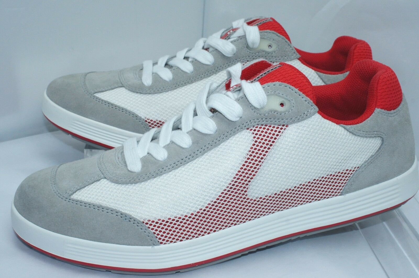 New Prada Men's Shoes White Sneakers Tennis Size 9 Red