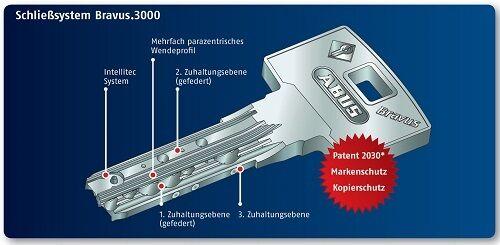 50//70 ABUS Bravus 3000 Profil Cylindre Cylindre De Verrouillage Poignée Cylindre bohrschutz