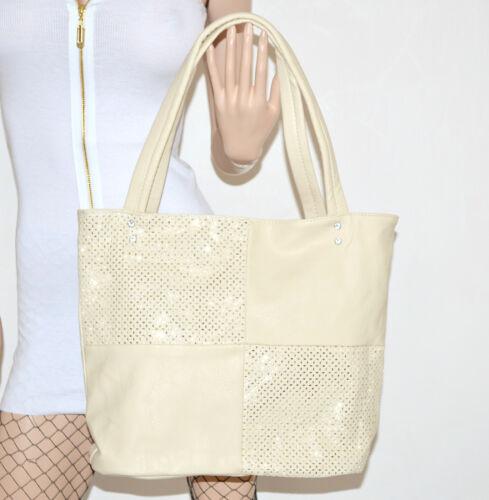 BORSA donna avorio panna eco pelle maxi grande shopper bag sac tracolla сумки 51