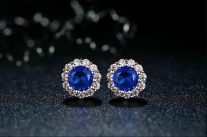 18K-White-Gold-Finish-4Ct-Round-Cut-Blue-Sapphire-Push-Back-Halo-Stud-Earrings