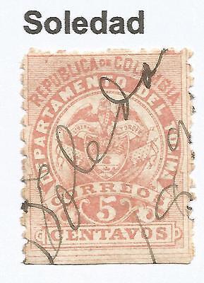 Kolumbien 1888 5c Vermilion,perf 11 Sg: 63 Fu Soledad Stift Marginal