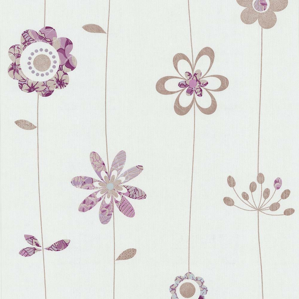 P&S FLOWER PATTERN RETRO FLOWER EMBOSSED TEXTURED WHITE VINYL WALLPAPER 05562-20