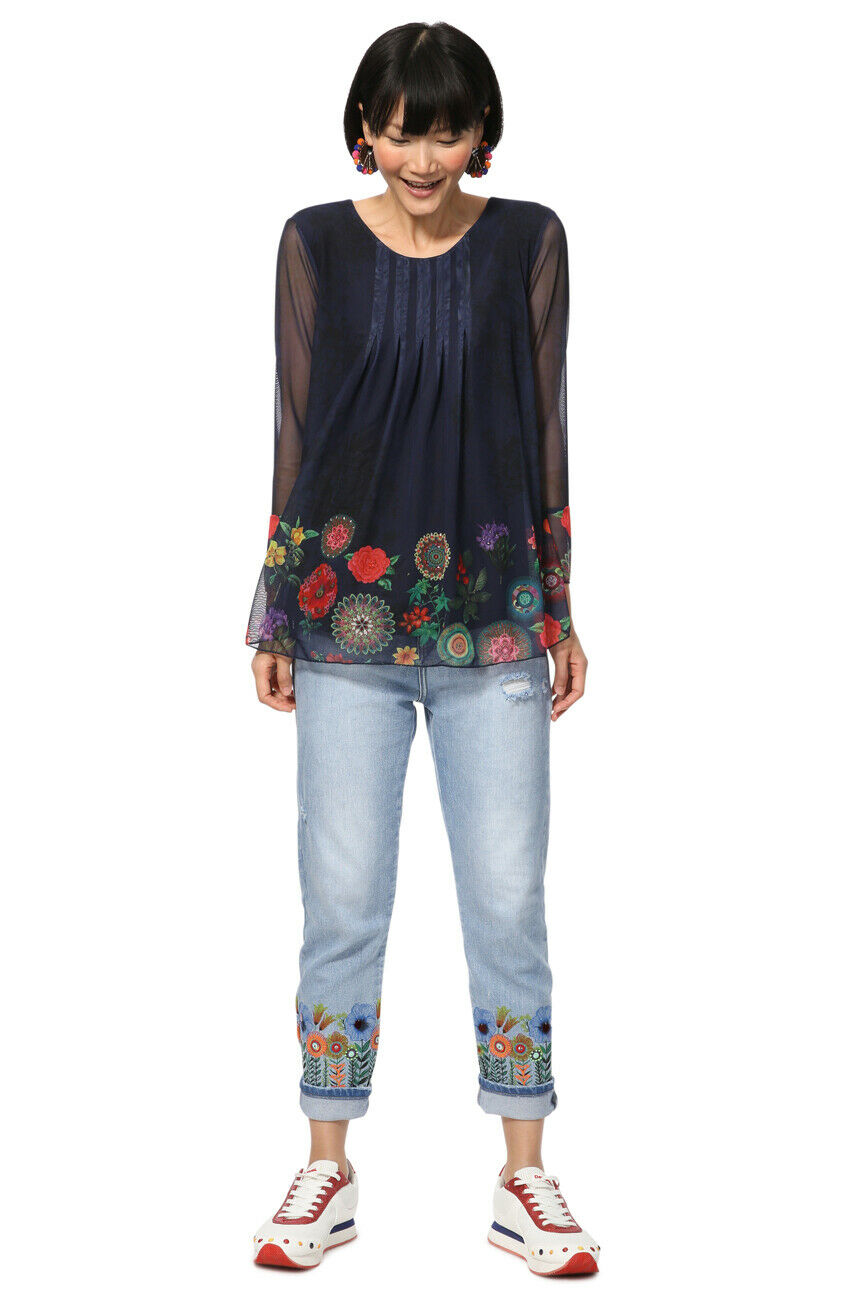 Desigual Navy Rachel Sheer manches Bright Floral Blouse Top S-XL UK10-16 Rp