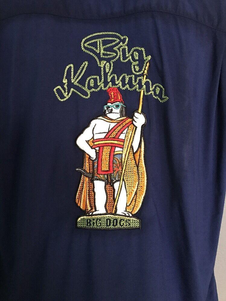 BIG DOGS Dogs Big Kahuna Hawaiian camp shirt Large, Embroidered