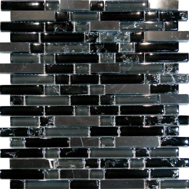 Sample-Black Marble & Crackle Glass Linear Mosaic Tile Kitchen Backsplash Spa