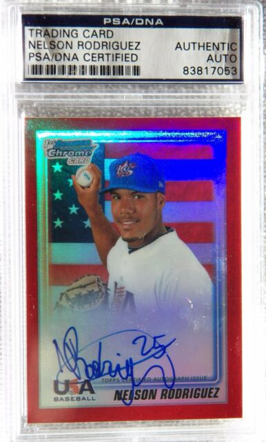 Nelson Rodriguez 2010 Bowman Chrome Red Auto Proof Card PSA/DNA COA