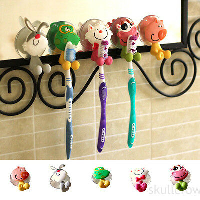 New Toothbrush Wall Holder Suction Cup Cartoon Animal Sucker Bathroom Storage