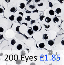 Wiggly Googly Eyes 10mm Black Pack of 200. Self Adhesive.