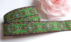 Red Jacquard Ribbon 1 1//2  inch wide and 7//8 inch wide Green Gold s Black