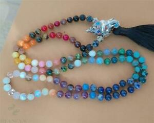 8mm Chakra 108 Beads Tassel Knotted Necklace Yoga Pray Bracelet Wrist Healing