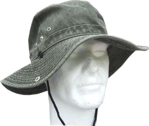 Highlander Aussie Digger Hat Olive Chapeau Soleil Large Bord Coton Floppy Vert