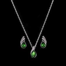 Angel Tear Drop Green Austria Crystal Pendant Necklace & Earring Set