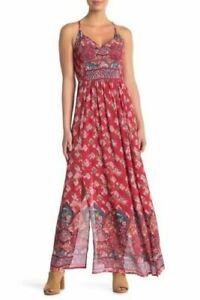 NWT-Angie-Red-Smocked-V-Neck-Floral-Print-Boho-Summer-Sun-Maxi-Fall-Dress-S-M-L