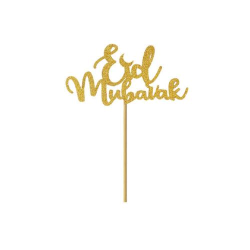 Hot 5pcs Cake Topper Eid Mubarak Baby Shower Ramadan Decor Cupcake Muslim Baking
