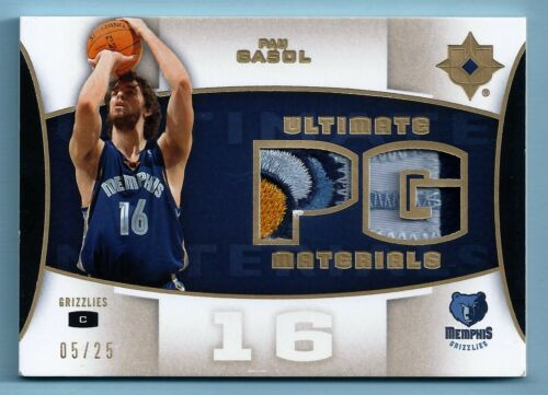 PAU GASOL 2007/08 ULTIMATE COLLECTION 8 COLOR DUAL GAME WORN PATCH /25