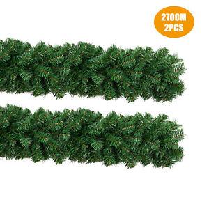 2x 9ft 270cm Green Christmas Xmas Garland Door Wall Hanging Decor