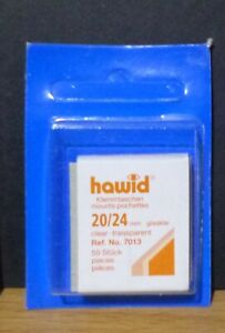 HAWID-STAMP-MOUNTS-CLEAR-Pack-of-50-Individual-20mm-x-24mm-Ref-No-7013