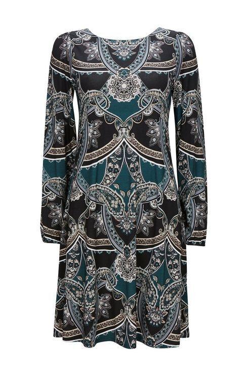 Wallis Teal Paisley Print Shift Dress Size rrp  DH182 FF 08