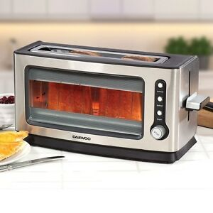 daewoo 2 slice wide slot glass toaster see through clear. Black Bedroom Furniture Sets. Home Design Ideas