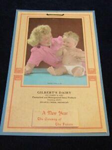 Vtg 1955 Calendar Gilbert's Dairy Swartz Creek MI Unused Baby with Mother S93