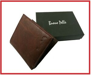 Real-Genuine-Leather-Mens-Wallet-Designer-Buono-Pelle-High-Quality-Card-Gift-Box
