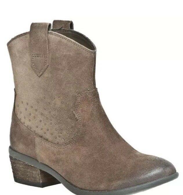 Clarks Ladies Moonlit Star Taupe Suede wedged ankle Boot Size 4D 37