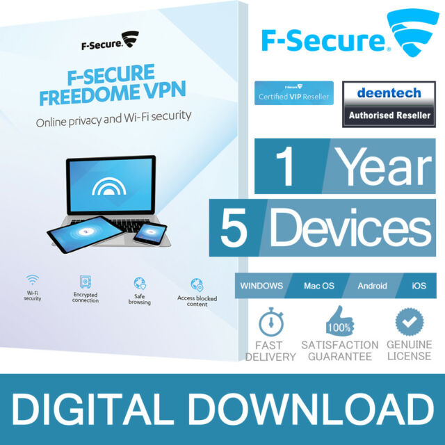 F-Secure Freedome VPN 2019 (1Year/5PCs) Internet Security Genuine Certificate