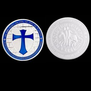 Knights-Templar-Cross-Coin-Soldiers-Of-Christ-Token-Medallion-Freemason-Blue
