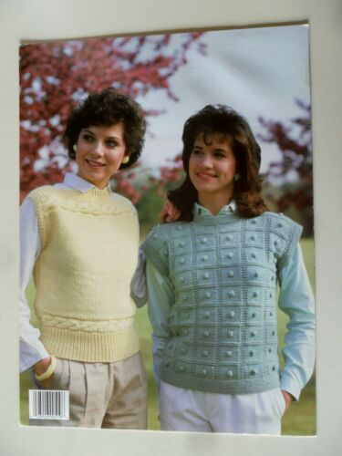 Pretty Patterned Vests to Knit Leisure Arts 519 1987 4 Designs Helene Rush