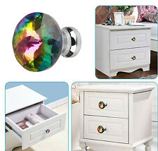 10pcs Diamond Shape Crystal Glass Knob Cabinet Cupboard Drawer Pull Handle New