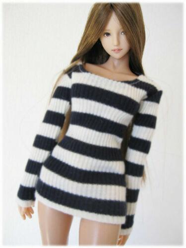 1//6 Female Stripe Long Sleeve T-shirt Coat Clothing Fit 12/'/' Action Figure Toy