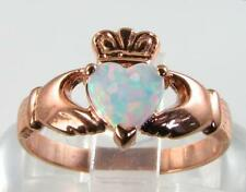 CLASSE Irlandese 9CT 9K Rose Oro Claddagh Anello Cuore Opale di Fuoco libero Ridimensiona
