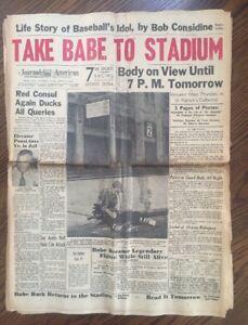 Babe Ruth Dies New York Journal American Newspaper August 17 1948