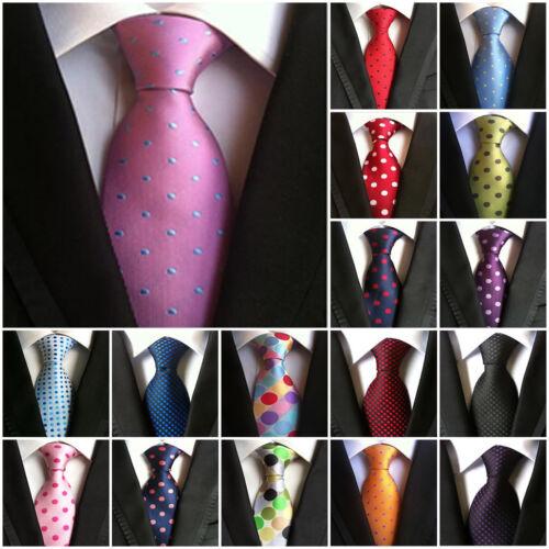 Men/'s Polka Dot Classic Silk Tie Jacquard Woven Wedding Party Work New Necktie