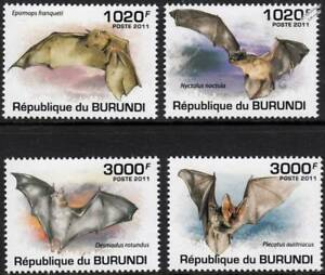 Les Chauves-souris (fruits/common Noctule/vampire/long-eared) Bat Stamp Set (2011 Burundi)-e/long-eared) Bat Stamp Set (2011 Burundi) Fr-fr Afficher Le Titre D'origine Le Prix Reste Stable