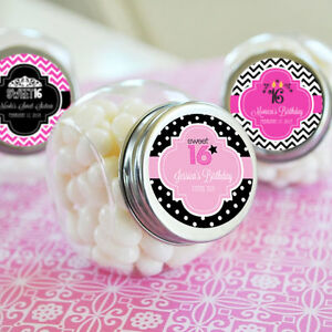 Details About 96 Personalized Sweet 16 Birthday Candy Jars Favors Lot