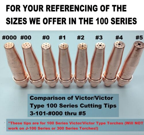 Victor Type 100 Series 3-101 #00-3 Tips Oxygen//Acetylene Cutting Torch Tips