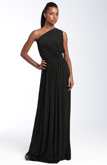 NWT Rachel Pally schwarz Jersey Grecian Aphrodite One Shoulder Dress, Sz XS