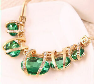 "Thompson Luxury ""saskia"" Gala-halskette Grün, 18k Gold Plated Austrian Crystals"