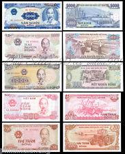 VIETNAM 200 500 1000 2000 5000 ( ho chi minh) DONG 5 Pcs SET -- UNC