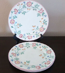 Image is loading Churchill-Fine-English-Tableware-Briar-Rose-Dinner-Plates- & Churchill Fine English Tableware Briar Rose Dinner Plates x3 Pink ...